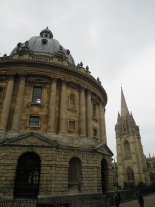 The Radcliffe Camera (Bodleian) with the steeple of St. Mary the Virgin.