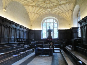A room adjacent to the Divinity Room. Kings James I and Charles I both hosted their courts in this room when visiting Oxford. A little less than five centuries later, Fletcher and Bekah were admitted as associates of the Bodleian.