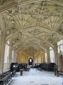 Begun in 1427, the Divinity Room hosts examinations and University functions. It is the oldest surviving University building.