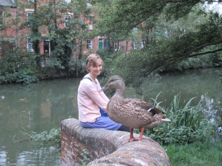 Bekah and a duck, Oxford Canal