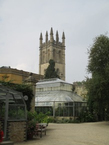 Oxford Botanical Gardens with Magdalen College tower in the background