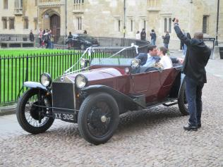 A classic car seen by the Radcliffe Camera