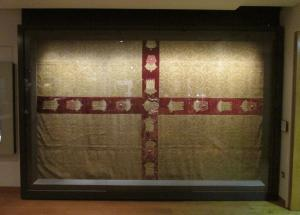 The St. George's flag drape at the Ashmolean