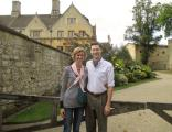 """At Magdalen College. A very kind Englishman asked us whether we'd like a photo. After framing us, he said, """"think of money."""" The second photo was prefaced by, """"think of cheese."""""""