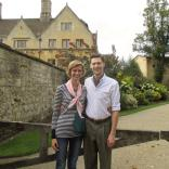"At Magdalen College. A very kind Englishman asked us whether we'd like a photo. After framing us, he said, ""think of money."" The second photo was prefaced by, ""think of cheese."""