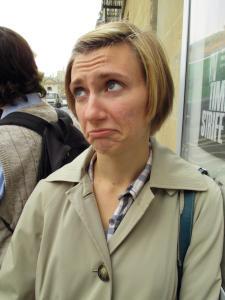 Bekah is sad the bus is late.