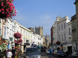 Approaching the cathedral through the town of Wells