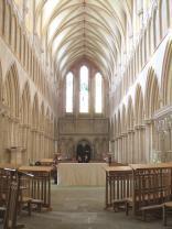 Toward the front facade, down the nave.