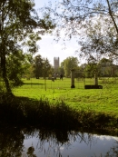Magdalen tower across the Water Meadow